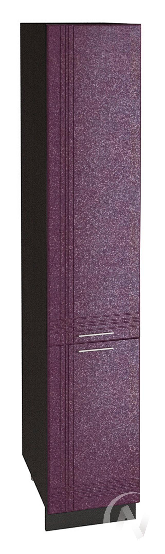 """Кухня """"Струна"""": Шкаф пенал 400, ШП 400 (фиолетовый металлик/корпус венге)"""