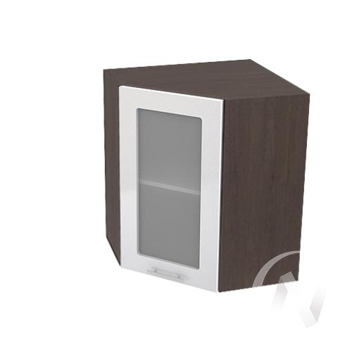"""Кухня """"Валерия-М"""": Шкаф верхний угловой со стеклом 590, ШВУС 590 (белый металлик/корпус венге)"""