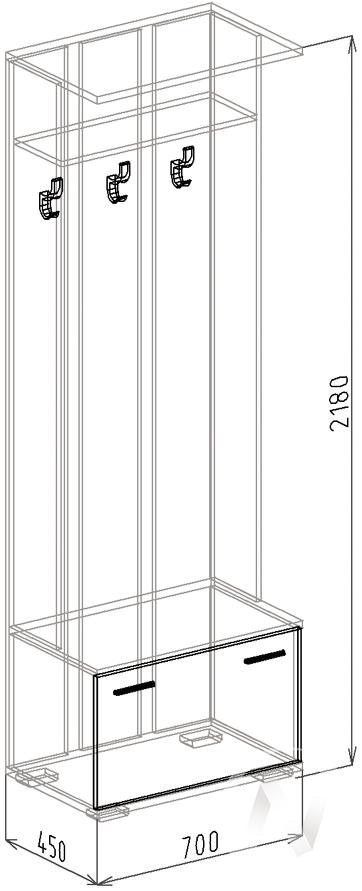 МС Статус М-13 Вешалка (венге-ясень шимо темный)  в Томске — интернет магазин МИРА-мебель