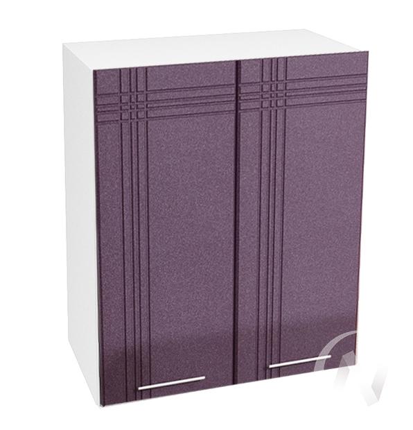 "Кухня ""Струна"": Шкаф верхний 600, ШВ 600 (фиолетовый металлик/корпус белый)"