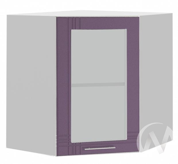 """Кухня """"Струна"""": Шкаф верхний угловой со стеклом 590, ШВУС 590 (фиолетовый металлик/корпус белый)"""