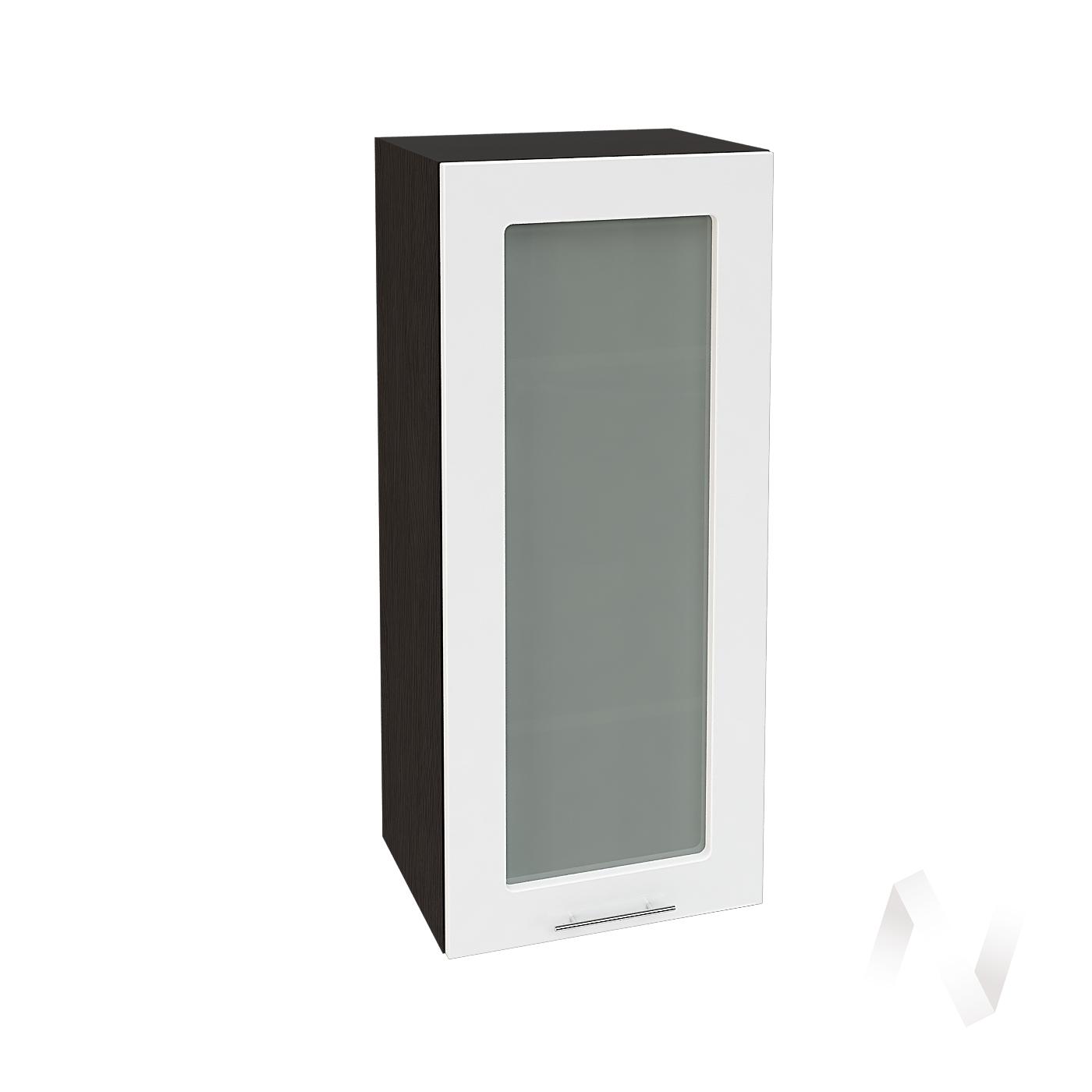"""Кухня """"Валерия-М"""": Шкаф верхний со стеклом 409, ШВС 409 (белый глянец/корпус венге)"""