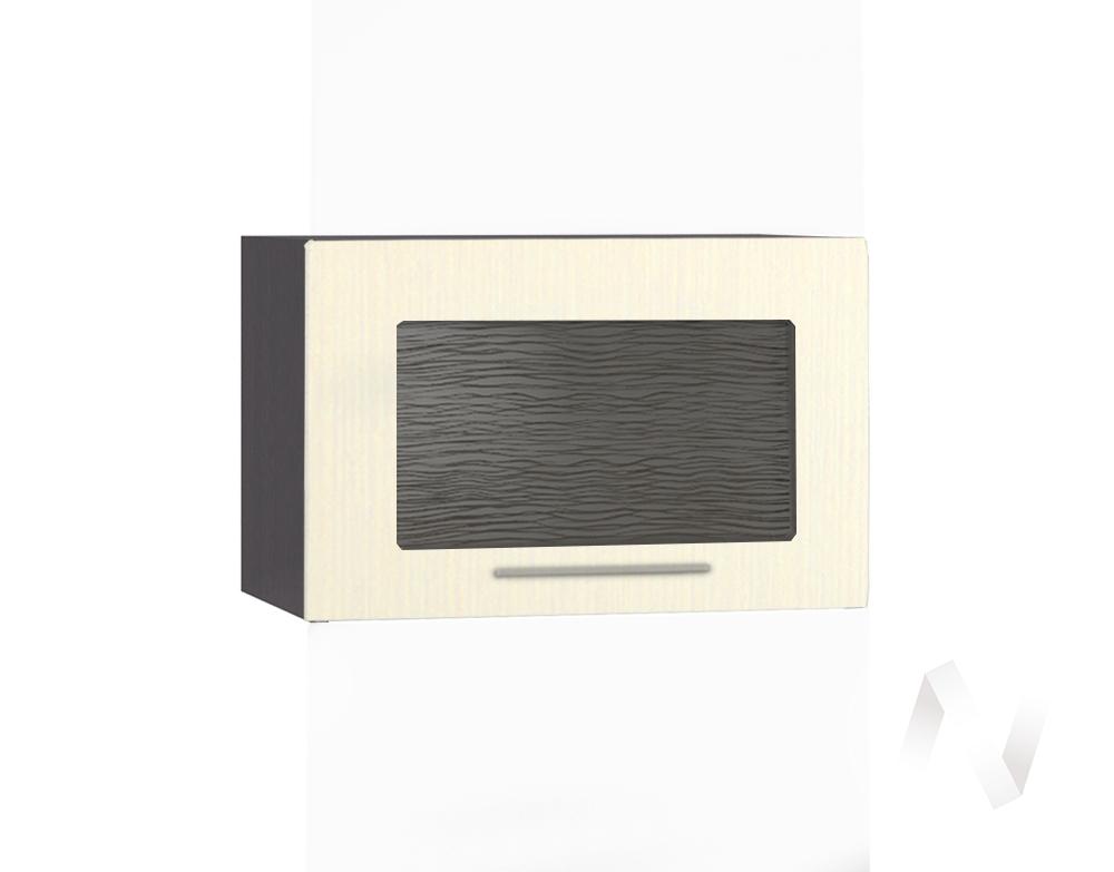 """Кухня """"Люкс"""": Шкаф верхний горизонтальный со стеклом 500, ШВГС 500 (Шелк жемчуг/корпус венге)"""