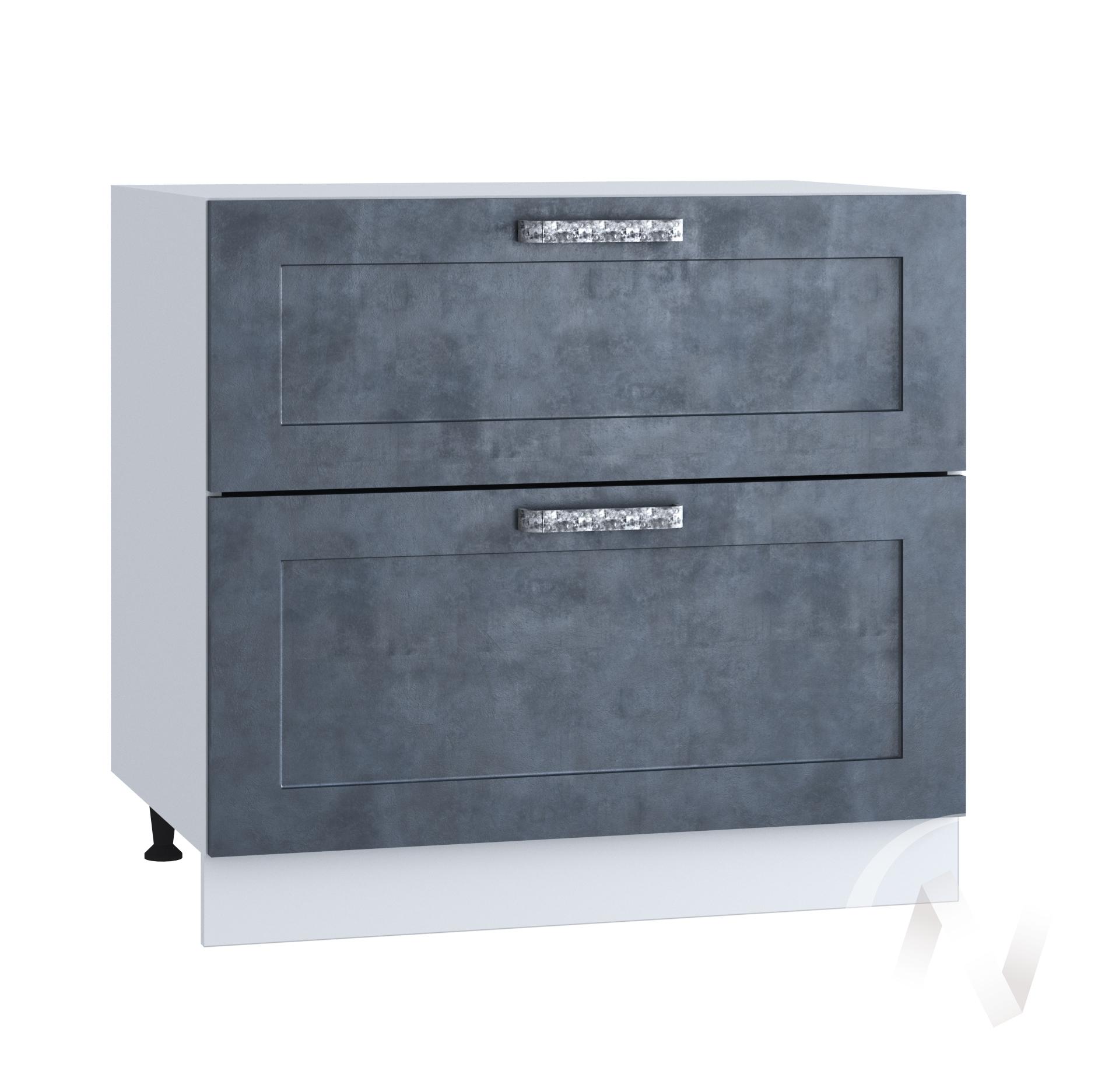"Кухня ""Лофт"": Шкаф нижний с 2-мя ящиками 800, ШН2Я 800 (Бетон графит/корпус белый)"