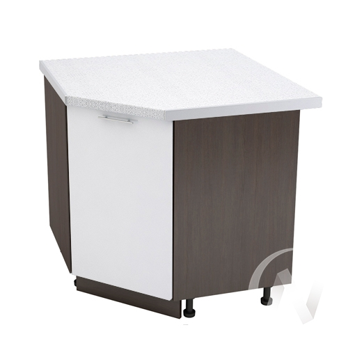 """Кухня """"Валерия-М"""": Шкаф нижний угловой 890, ШНУ 890 (белый металлик/корпус венге)"""