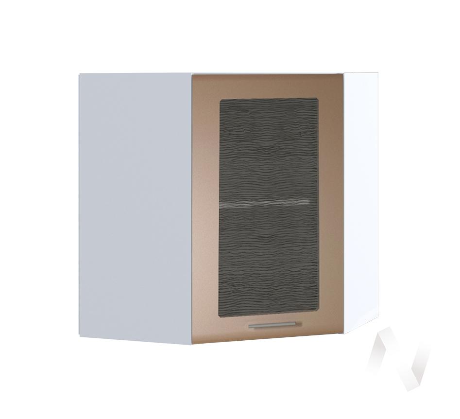 """Кухня """"Люкс"""": Шкаф верхний угловой со стеклом 590, ШВУС 590 (Шоколад матовый/корпус белый)"""