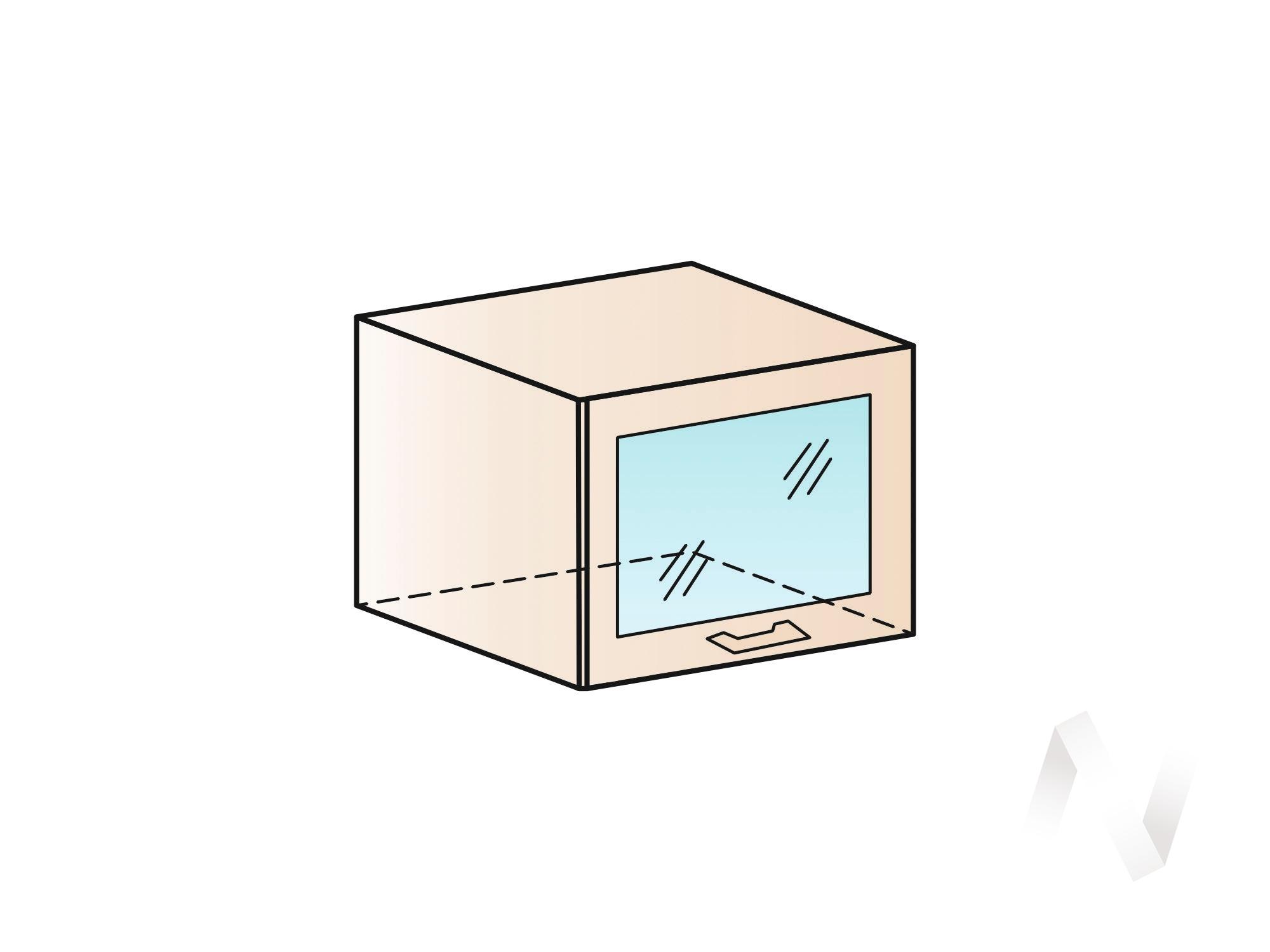 """Кухня """"Люкс"""": Шкаф верхний горизонтальный со стеклом 500, ШВГС 500 (Шелк жемчуг/корпус белый) в Томске — авторская мебель Экостиль"""