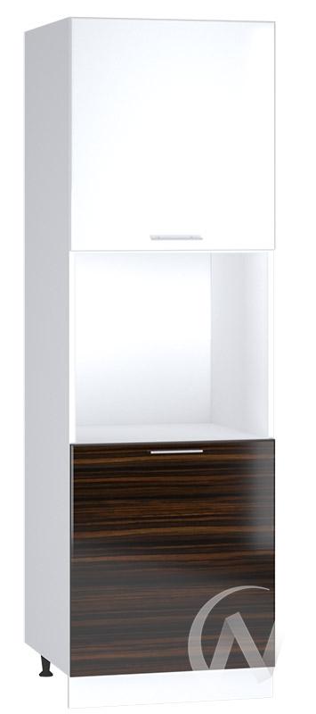 """Кухня """"Норден"""": Шкаф пенал 600, ШП 600 (эбен/белый глянец/корпус белый)"""