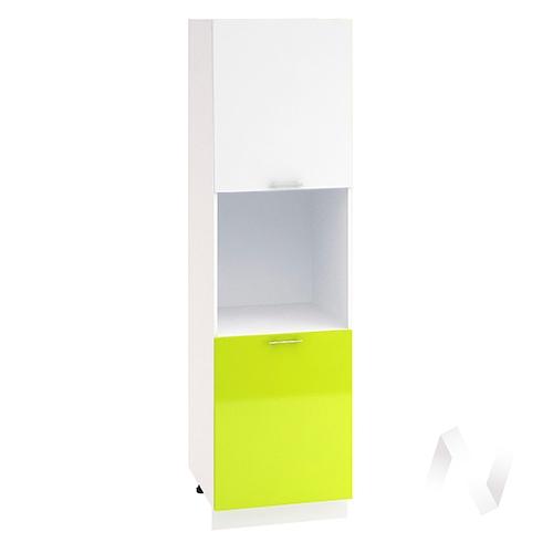 """Кухня """"Валерия-М"""": Шкаф пенал 600, ШП 600 (белый глянец/лайм глянец/корпус белый)"""