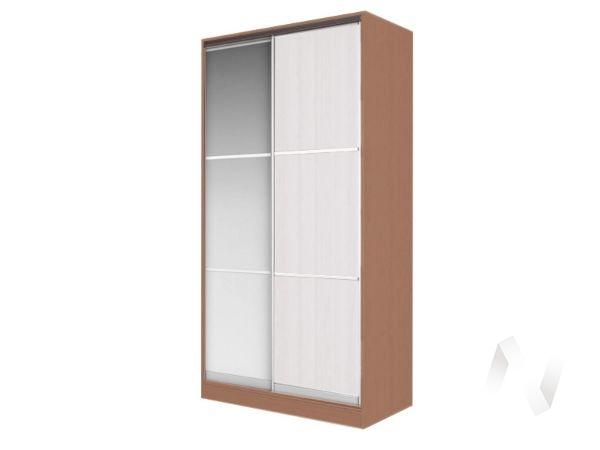 Шкаф-купе «Жаклин» 2-х дверный тройной с зеркалом (ясень шимо темный/белый)