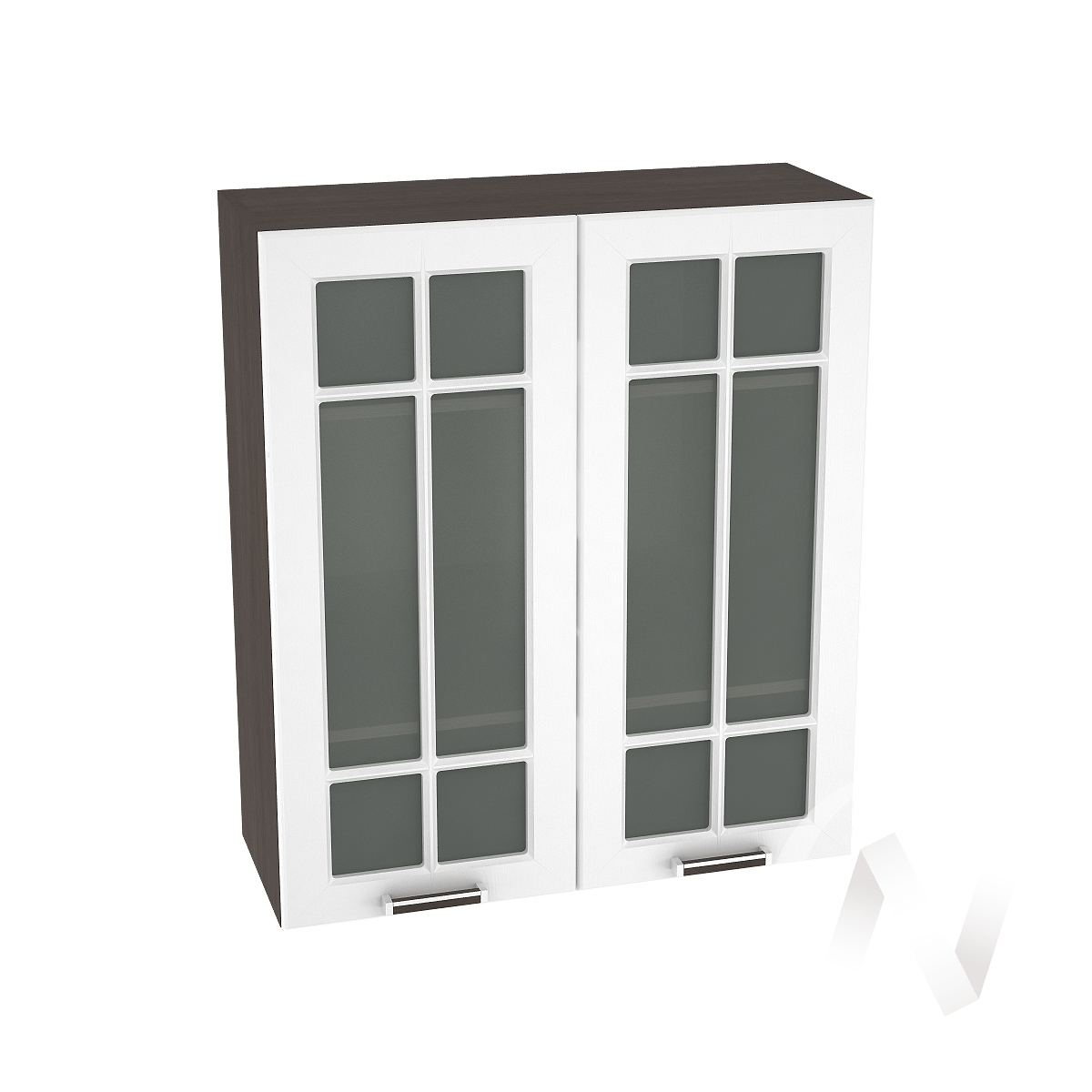 """Кухня """"Прага"""": Шкаф верхний со стеклом 809, ШВС 809 (белое дерево/корпус венге)"""