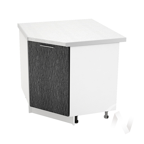 """Кухня """"Валерия-М"""": Шкаф нижний угловой 890, ШНУ 890 (дождь черный/корпус белый)"""