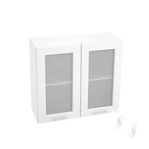 "Кухня ""Вега"": Шкаф верхний со стеклом 800, ШВС 800 (белый металлик/корпус белый)"