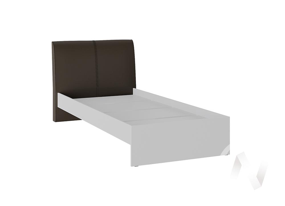 Кровать Доминика 0,9 основание ЛДСП (белый глянец/кожзам коричневый)  в Томске — интернет магазин МИРА-мебель