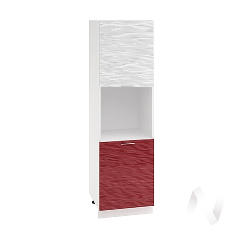 "Кухня ""Валерия-М"": Шкаф пенал 600, ШП 600 (Страйп белый/Страйп красный/корпус белый)"