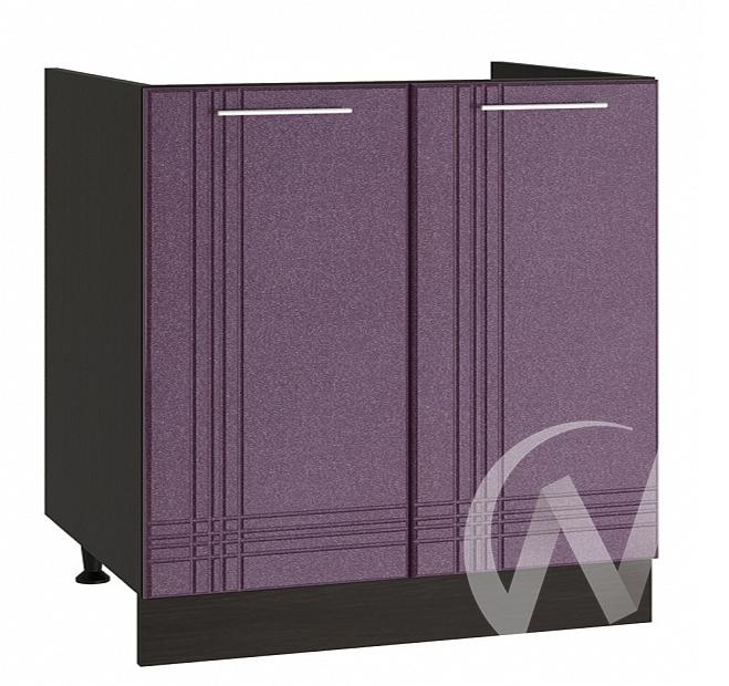 """Кухня """"Струна"""": Шкаф нижний под мойку 800, ШНМ 800 (фиолетовый металлик/корпус венге)"""