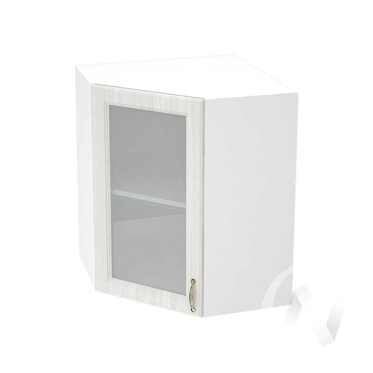 """Кухня """"Виктория"""": Шкаф верхний угловой со стеклом 590, ШВУС 590 (корпус белый) в Новосибирске в интернет-магазине мебели kuhnya54.ru"""