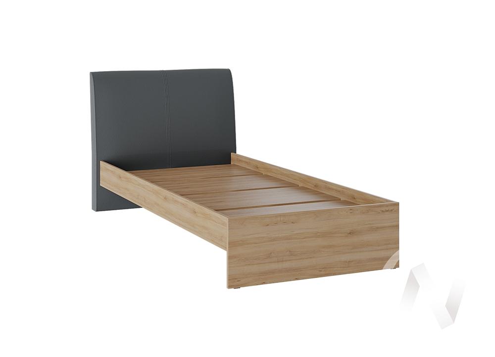 Кровать Доминика 1,2 основание ЛДСП (дуб крафт золотой/кожзам серый)  в Томске — интернет магазин МИРА-мебель