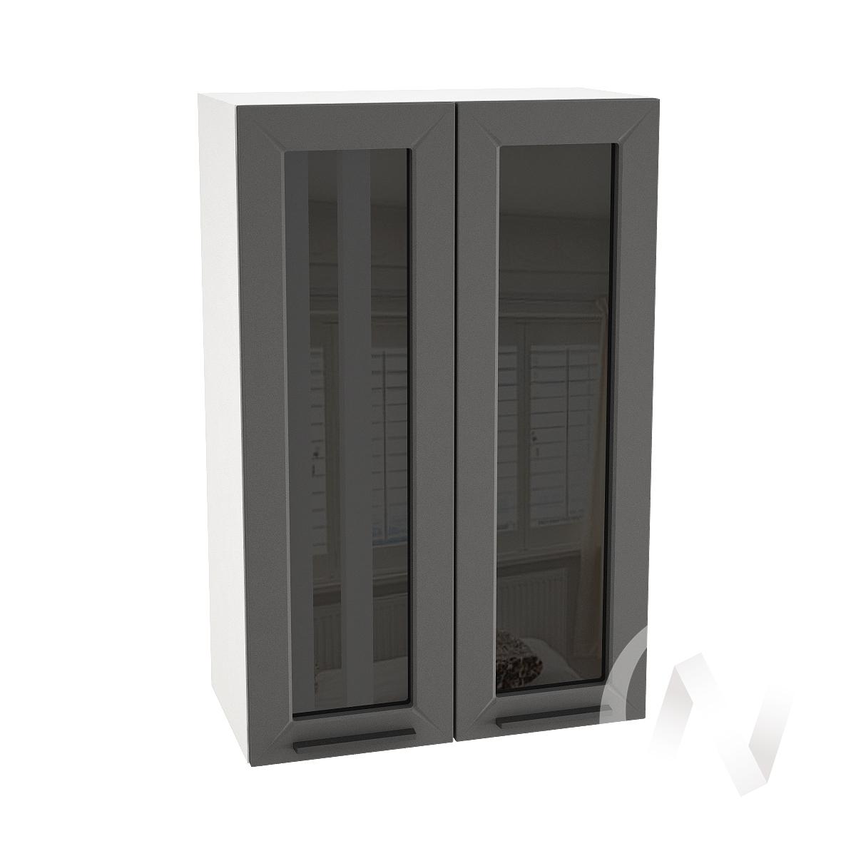 "Кухня ""Глетчер"": Шкаф верхний со стеклом 609, ШВС 609 (Маренго силк/корпус белый)"