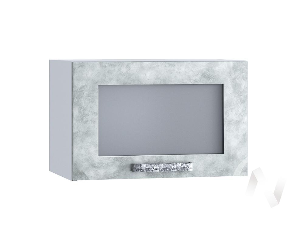 """Кухня """"Лофт"""": Шкаф верхний горизонтальный со стеклом 500, ШВГС 500 (Бетон серый/корпус белый)"""