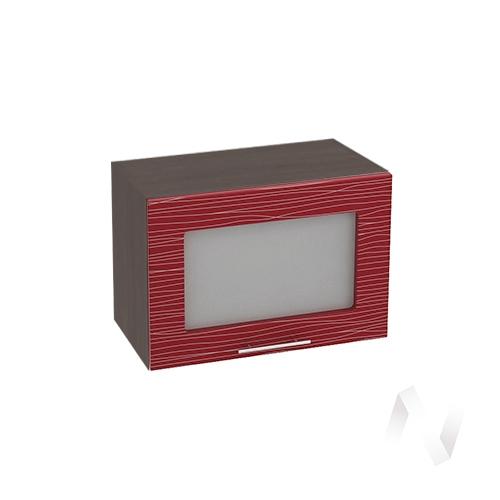 """Кухня """"Валерия-М"""": Шкаф верхний горизонтальный со стеклом 500, ШВГС 500 (Страйп красн./корпус венге)"""