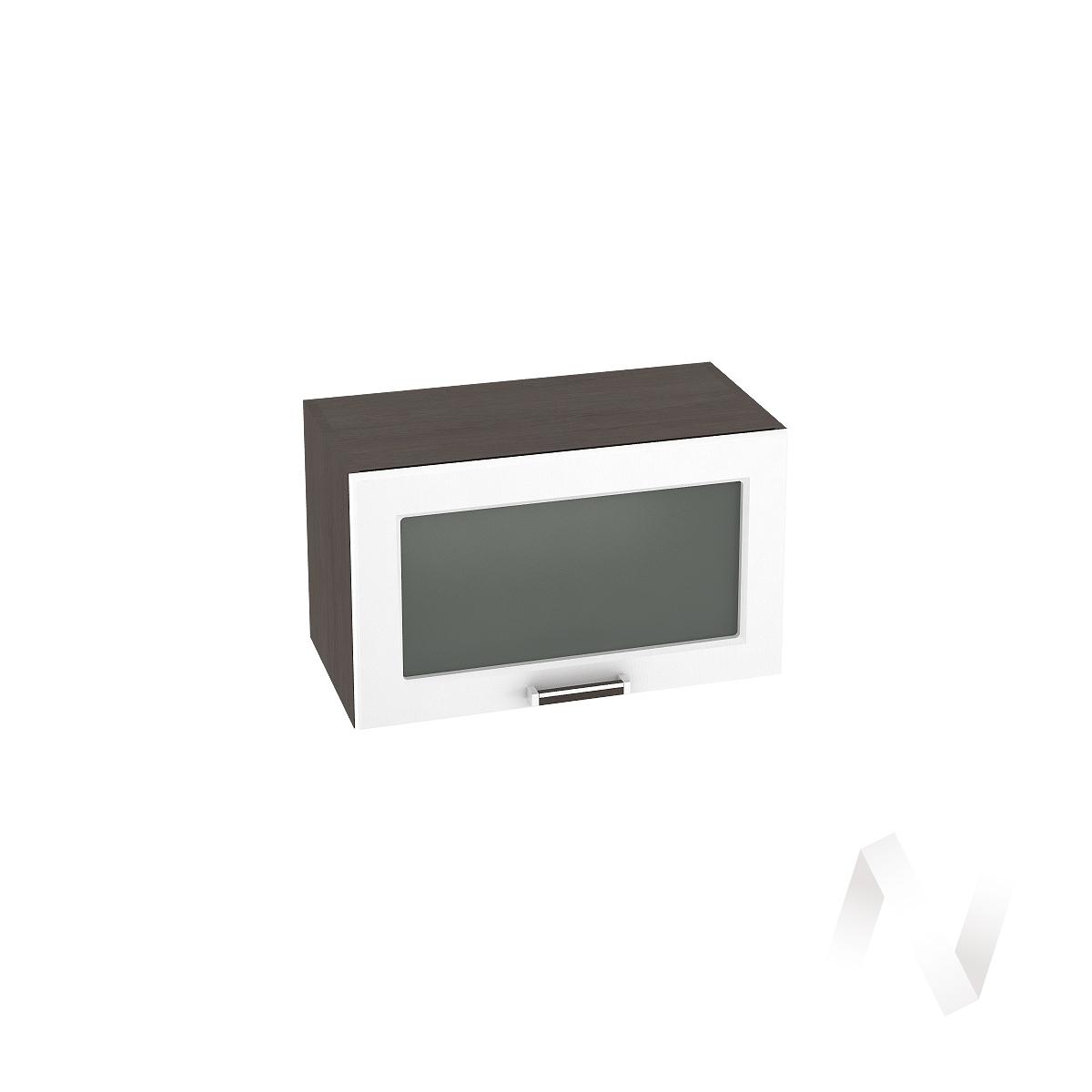 """Кухня """"Прага"""": Шкаф верхний горизонтальный со стеклом 600, ШВГС 600 (белое дерево/корпус венге)"""
