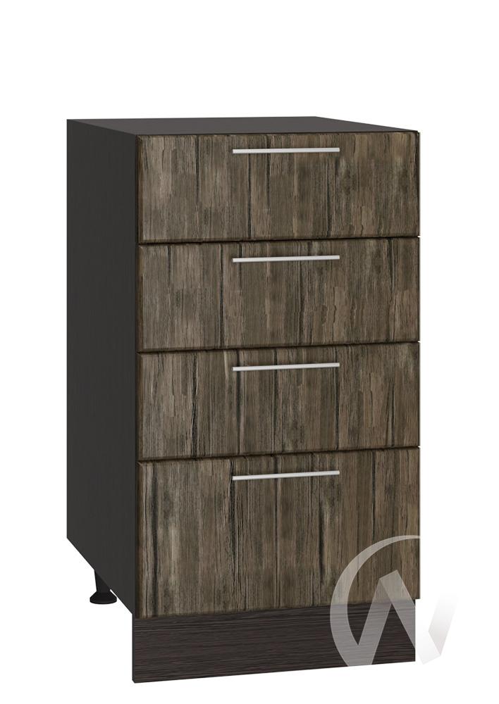 """Кухня """"Норден"""": Шкаф нижний с 4-мя ящиками 400, ШН4Я 400 (старое дерево/корпус венге)"""