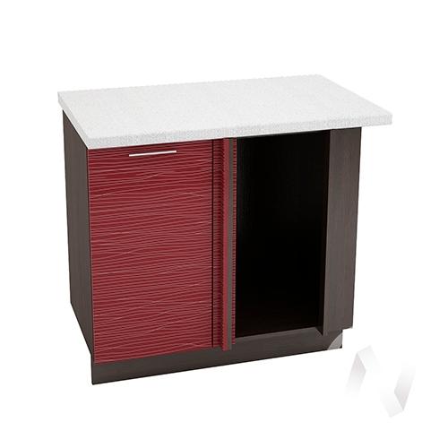 """Кухня """"Валерия-М"""": Шкаф нижний угловой 990М, ШНУ 990М (Страйп красный/корпус венге)"""