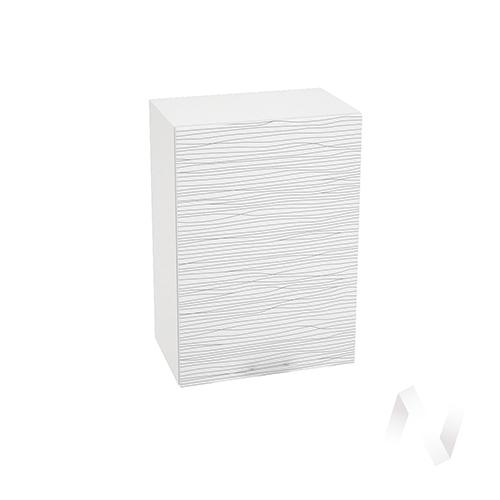 """Кухня """"Валерия-М"""": Шкаф верхний 500, ШВ 500 (Страйп белый/корпус белый) в Новосибирске в интернет-магазине мебели kuhnya54.ru"""