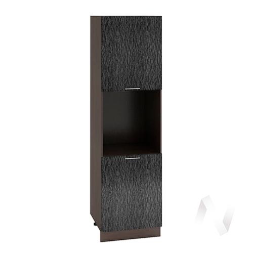 """Кухня """"Валерия-М"""": Шкаф пенал 600, ШП 600 (дождь черный/корпус венге)"""