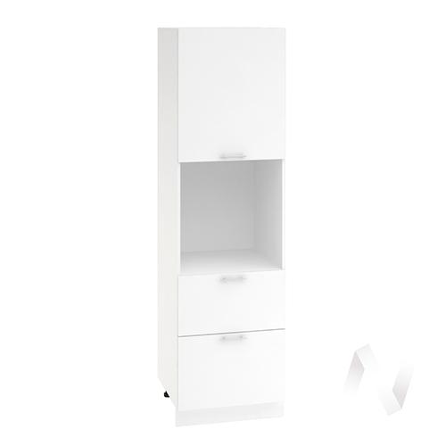 "Кухня ""Валерия-М"": Шкаф пенал с 2-мя ящиками 600, ШП2Я 600 (белый глянец/корпус белый)"