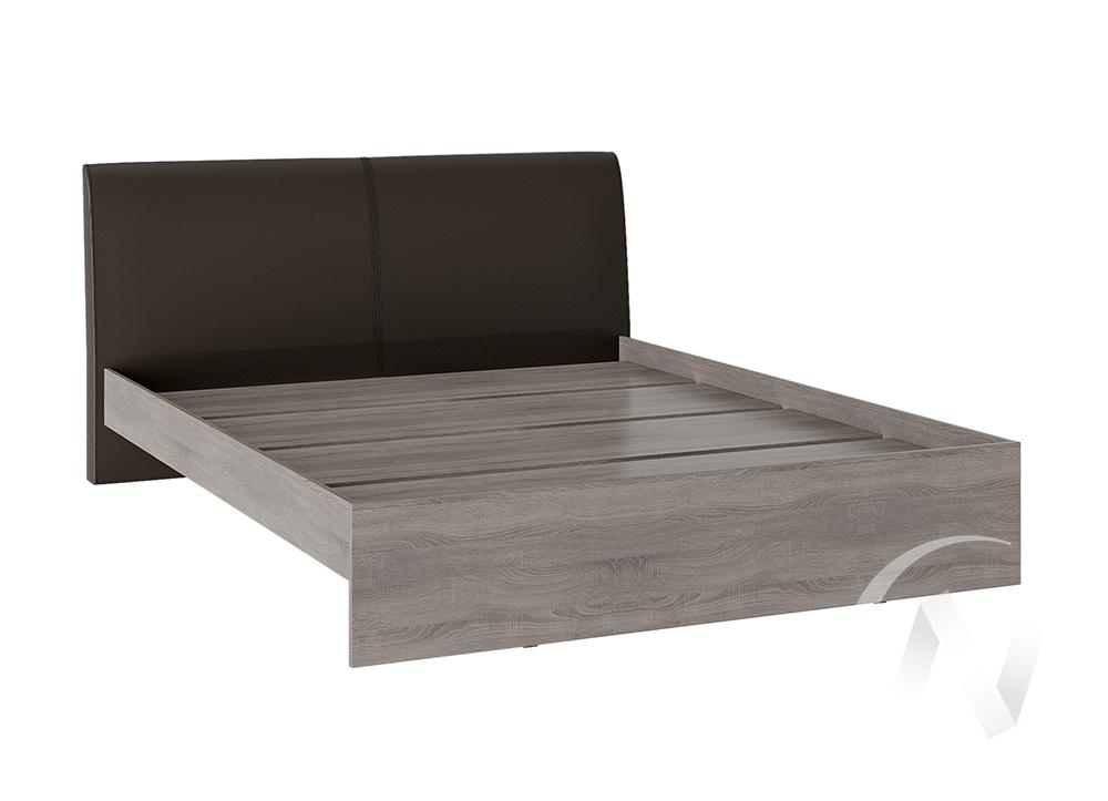 Кровать Доминика 1,4 основание ЛДСП (дуб сонома трюфель/кожзам коричневый)  в Томске — интернет магазин МИРА-мебель