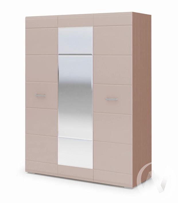 Шкаф 3-х створчатый Симба (шимо темный/кофе с молоком)