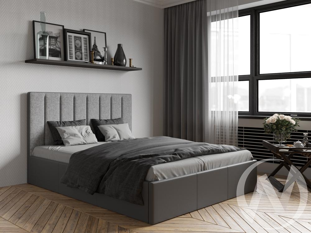 Кровать Прага 1,6 с подъемным механизмом (кожзам серый/ткань серая)
