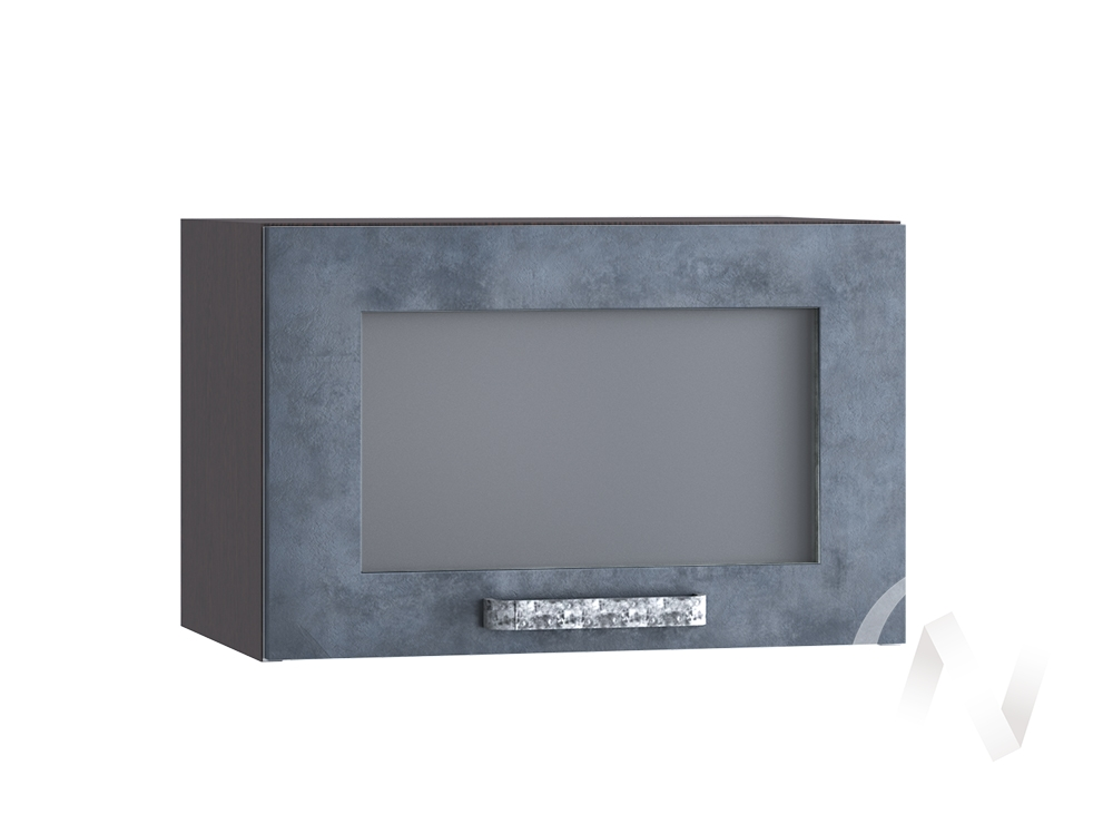 """Кухня """"Лофт"""": Шкаф верхний горизонтальный со стеклом 500, ШВГС 500 (Бетон графит/корпус венге)"""
