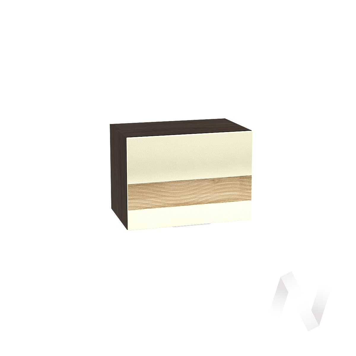 """Кухня """"Терра"""": Шкаф верхний горизонтальный 500, ШВГ 500 (ваниль софт/ель карпатская/корпус венге)"""