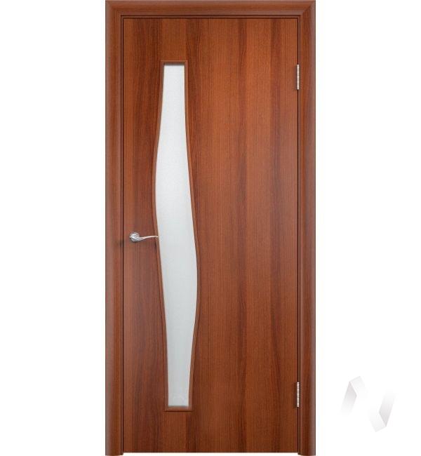 """Дверь ламинированная Тип """"Волна"""", 60, ост, итальянский орех, стекло матовое"""