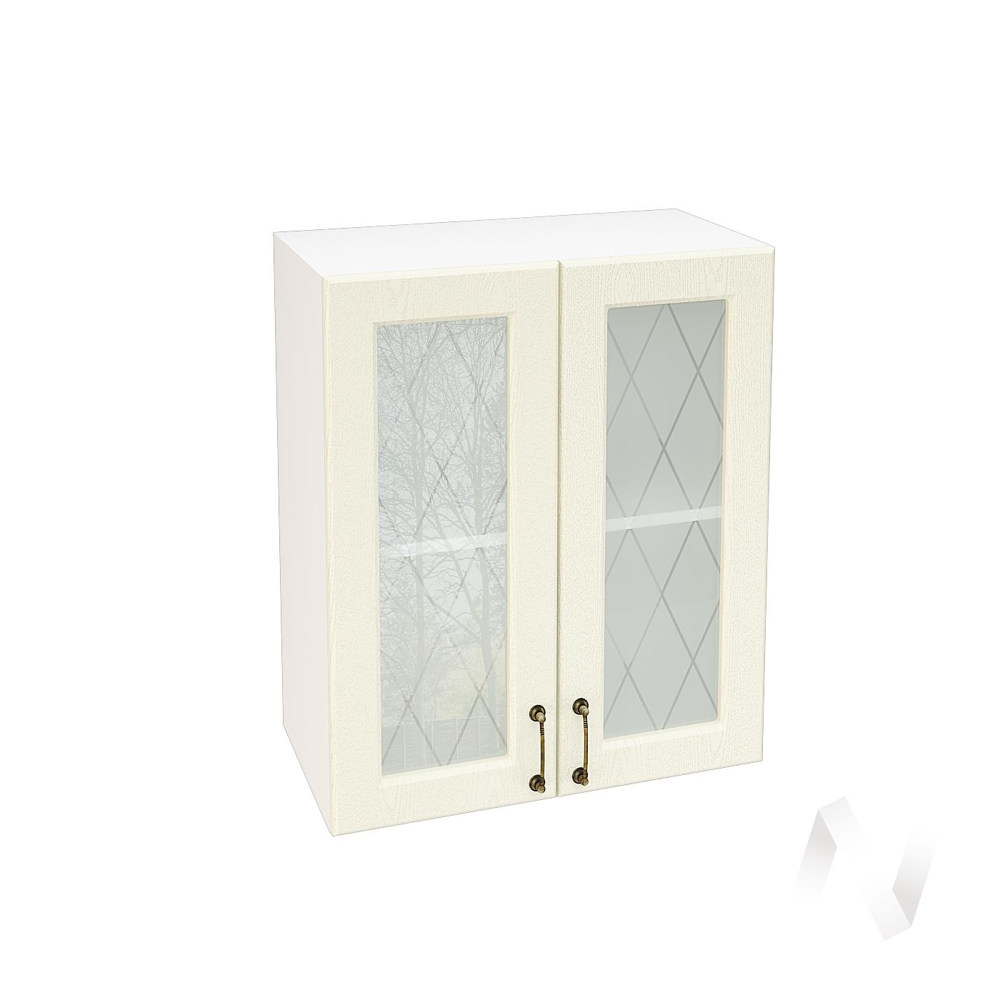 """Кухня """"Ницца"""": Шкаф верхний со стеклом 600, ШВС 600 (Крем/корпус белый)"""