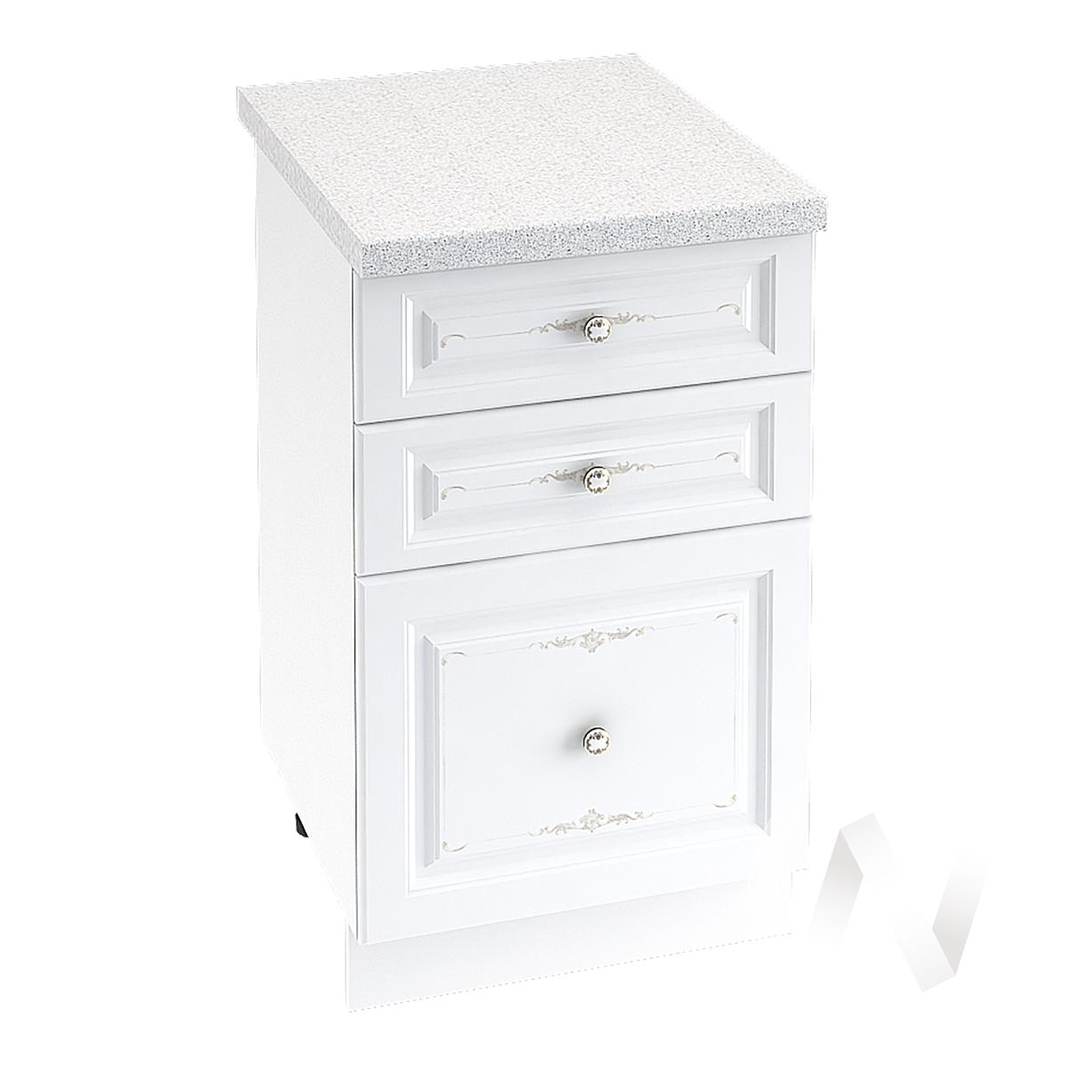 """Кухня """"Шарлиз"""": Шкаф нижний с 3-мя ящиками 500, ШН3Я 500 (корпус белый)"""