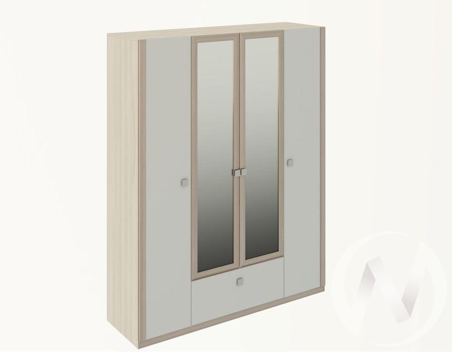 Шкаф четырехстворчатый М24 Глэдис (ясень шимо светлый/белый)