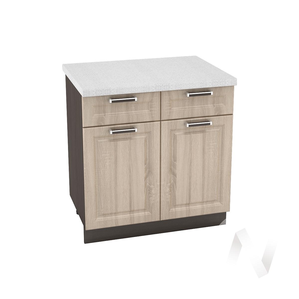 "Кухня ""Прага"": Шкаф нижний с ящиками 800, ШН1Я 800 (дуб сонома/корпус венге)"