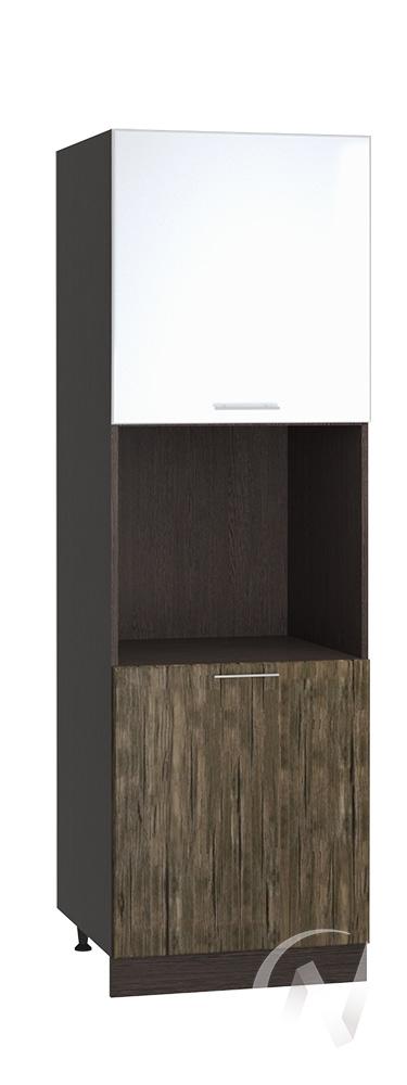 """Кухня """"Норден"""": Шкаф пенал 600, ШП 600 (эбен/белый глянец/корпус венге)"""