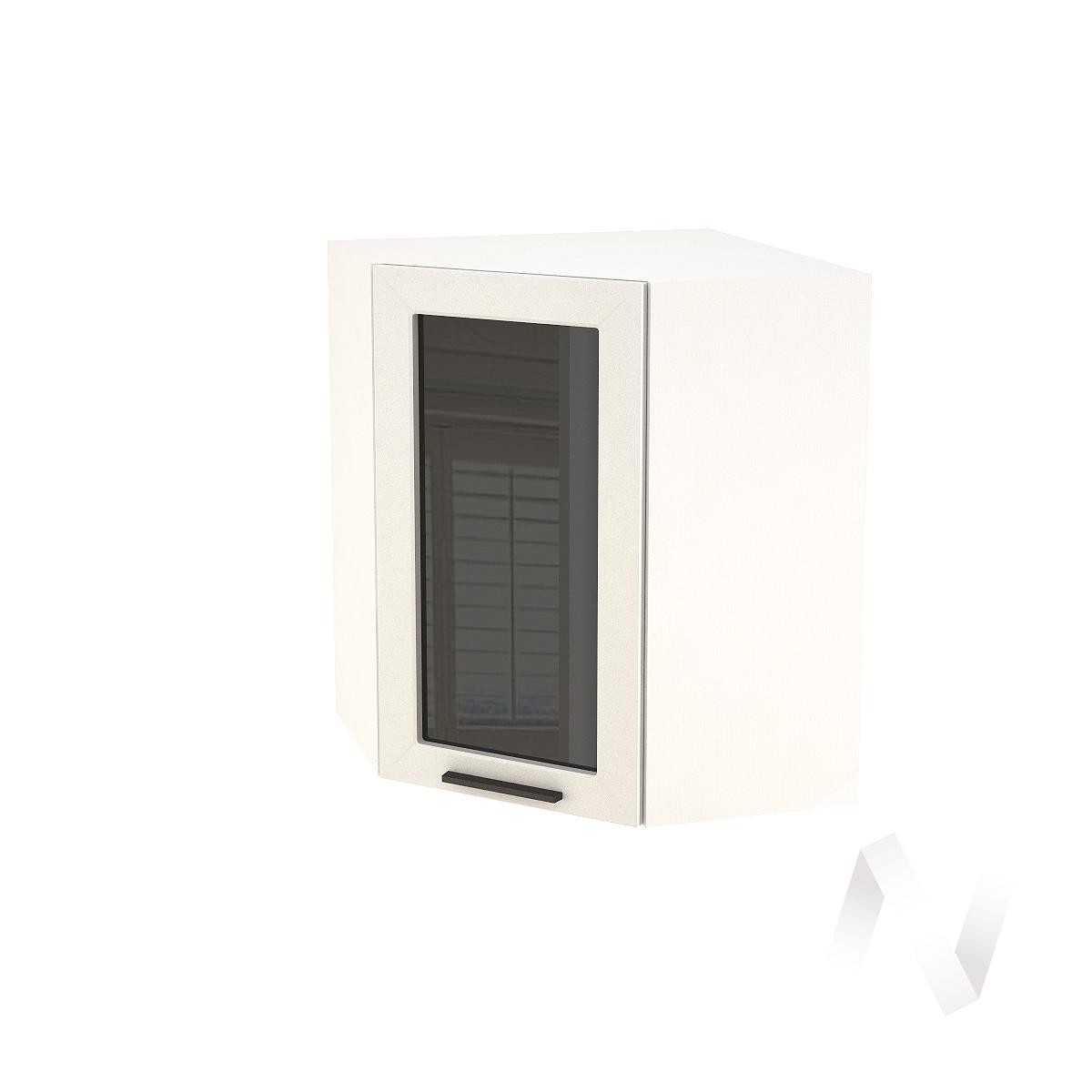 """Кухня """"Глетчер"""": Шкаф верхний угловой со стеклом 590, ШВУС 590 (Айленд силк/корпус белый)"""