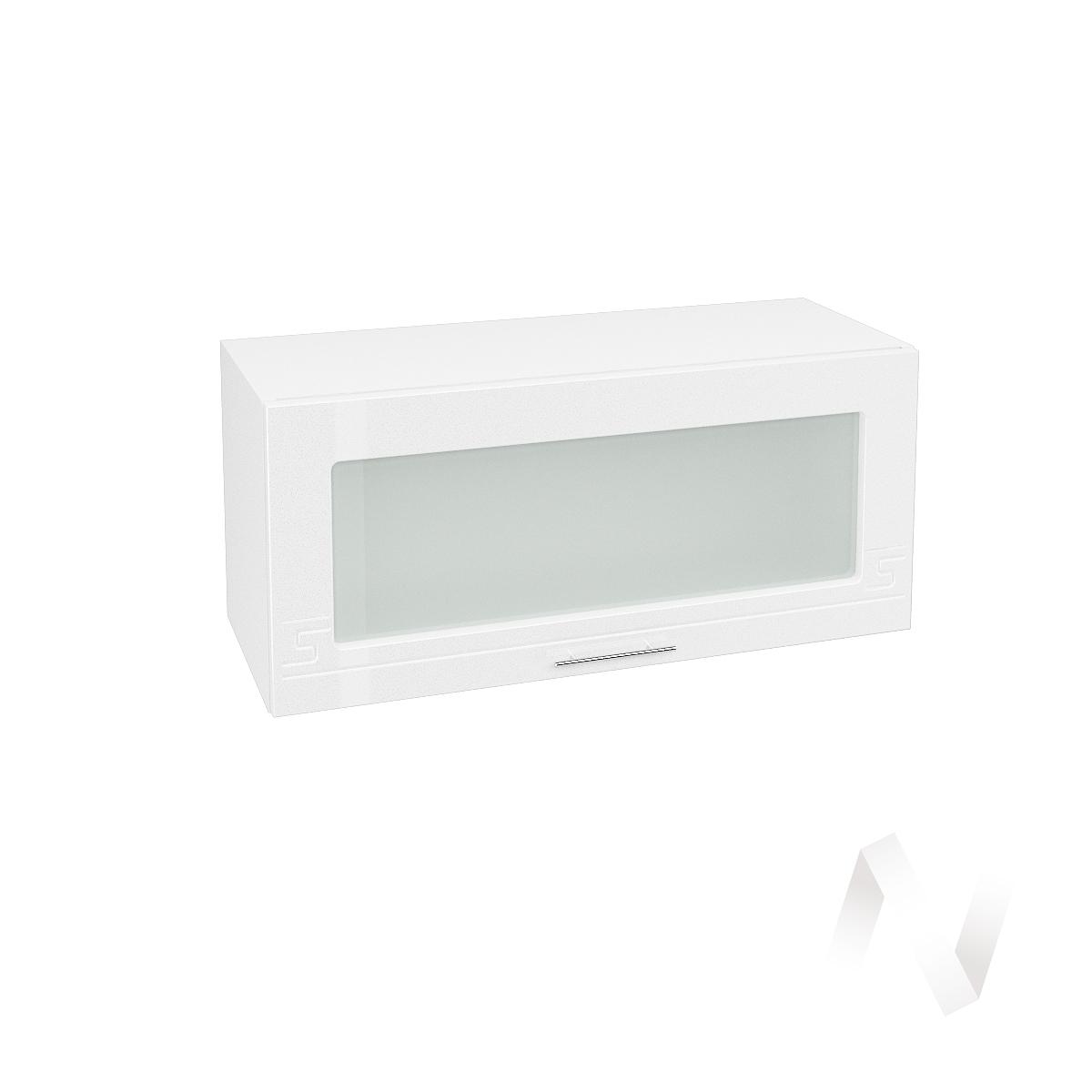 """Кухня """"Греция"""": Шкаф верхний горизонтальный со стеклом 800, ШВГС 800 (белый металлик/корпус белый)"""