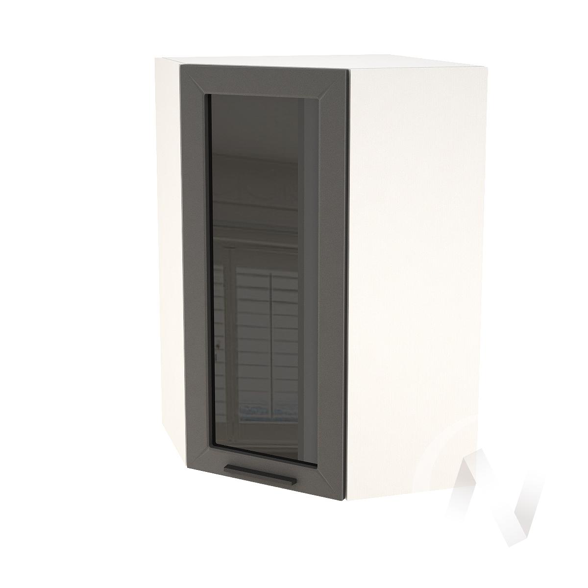 """Кухня """"Глетчер"""": Шкаф верхний угловой со стеклом 599, ШВУС 599 (Маренго силк/корпус белый)"""