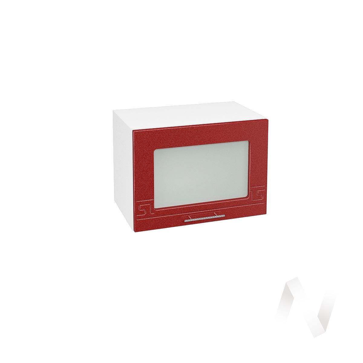 """Кухня """"Греция"""": Шкаф верхний горизонтальный со стеклом 500, ШВГС 500 (гранат. металлик/корпус белый)"""