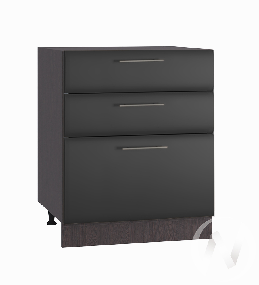 """Кухня """"Люкс"""": Шкаф нижний с 3-мя ящиками 600, ШН3Я 600 (Шелк венге/корпус венге)"""