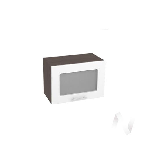 """Кухня """"Валерия-М"""": Шкаф верхний горизонтальный со стеклом 500, ШВГС 500 (белый глянец/корпус венге)"""