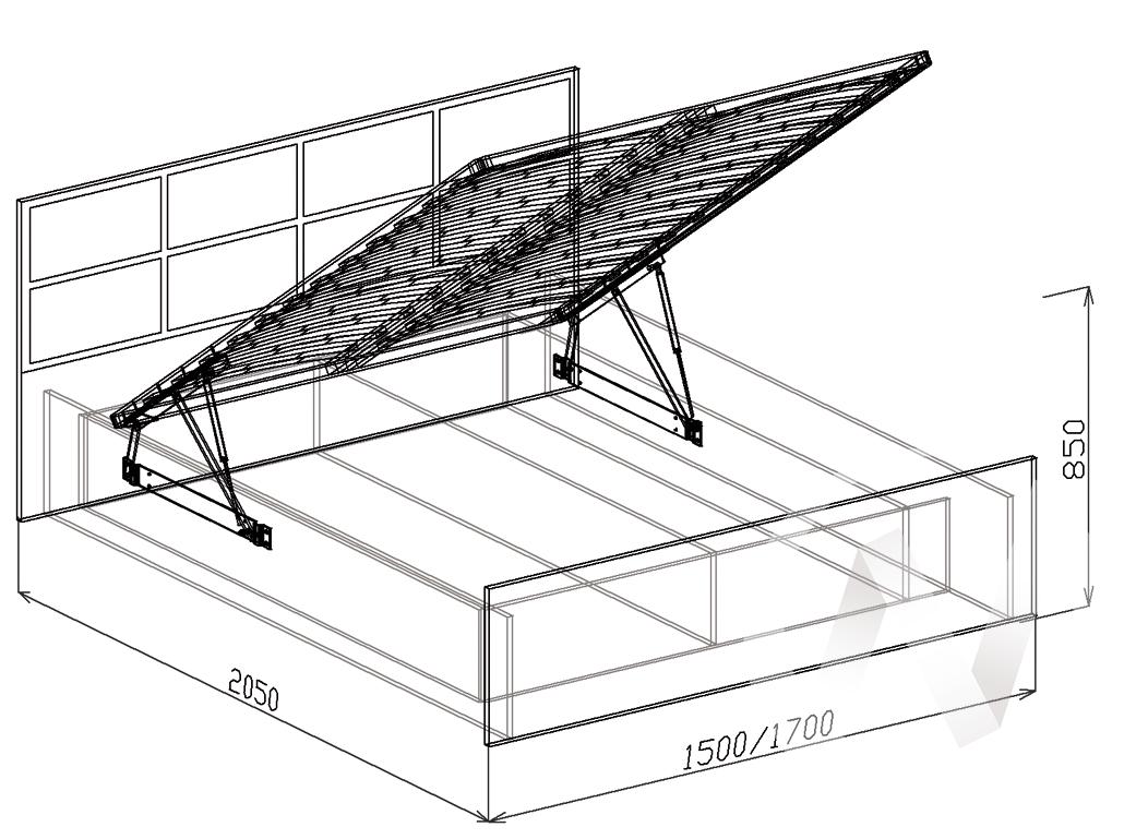 Палермо Кровать 1,6 с подъемным механизмом (венге-венге дуглас) в Томске — авторская мебель Экостиль