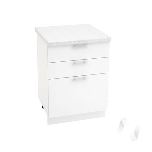 "Кухня ""Валерия-М"": Шкаф нижний с 3-мя ящиками 600, ШН3Я 600 (белый глянец/корпус белый)"